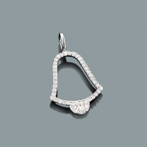 Small Diamond Pendants: 10K Gold Bell Charm 0.14ct