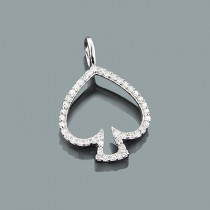 Small Diamond Spade Pendant in 10K Gold 0.15ct Charm