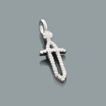 Wonder Woman Small Diamond Cross Sword Pendant for Women in 10K Gold 0.17ct