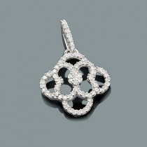 Small Gold Diamond Flower Pendant 0.29ct 14K Gold
