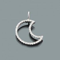Small Moon Pendant with Diamonds 0.16ct 10K Gold Charm
