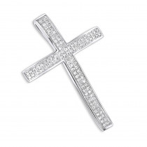 Small Pave Diamond Cross Pendant 0.33ct 14K Gold