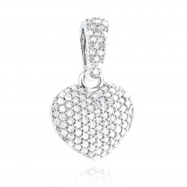 Small Pave Diamond Heart Pendant 14K Gold 0.33ct