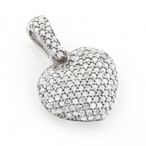 Small Pave Diamond Heart Pendant 14K Gold 0.50ct