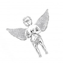 Small Praying Diamond Angel Pendant in 10K White Yellow or Rose Gold 0.6ct