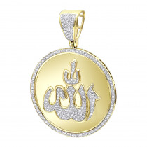 Small Religious Muslim Islam God Allah Pendant 10k Gold Diamond Medallion