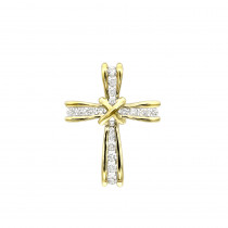 Small Womens Diamond Cross Pendant in Solid 14k Gold