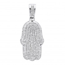 Solid 10K Gold Diamond Hamsa Hand Pendant Fully Iced Out 1 Carat Charm
