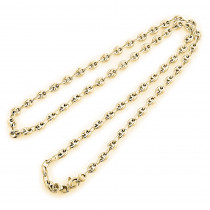 Solid 14K Gold Chain Gucci Style Puff 4mm Wide Yellow Rose White Gold