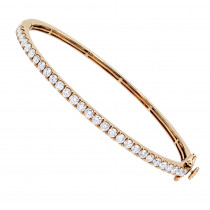 Solid 14K Gold Diamond Bangle Bracelet for Women 2ct by Luxurman