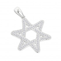 Solid 14K Gold Diamond Star of David Pendant 0.27ct