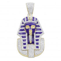 Solid 14K Gold Egyptian Pharaoh Head Enamel Diamond Pendant for Men 2.38ct