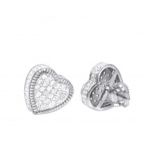 Solid 14K Gold Large Heart Diamond Stud Earrings for Women 1ct by Luxurman
