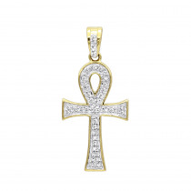 Solid 14K Gold Mini Diamond Egyptian Ankh Cross Pendant For Women 0.2ct