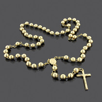 Solid 14K Gold Rosary Beads Necklace 8mm 36""