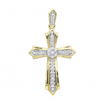 Solid 14k Gold Small Diamond Cross Pendant for Women 0.2ct