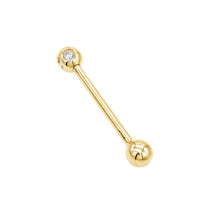 Solid 14K Gold Straight Barbell with Diamonds Body Jewelry 0.15ct