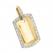 Solid Gold Diamond Dog Tag Pendant 10K 0.65ct
