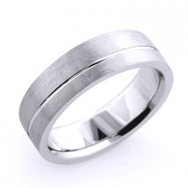 Solid Platinum One Line Mens Wedding Band