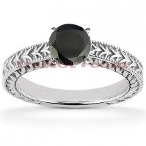 Thin Solitaire Black Diamond Engagement Ring 14K Gold 0.60ct