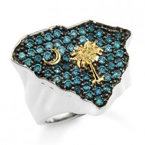 South Carolina Ring with Blue and Yellow Diamonds 1.25ct 10K Custom Made