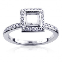Square Diamond Engagement Ring Mounting 14K Gold Princess Cut Halo