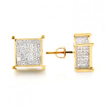 Square Diamond Stud Earrings 14K Gold 2.25ct