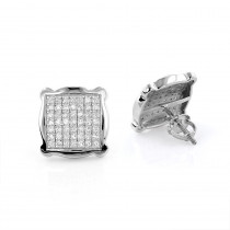 Square Pave Diamond Stud Earrings 0.5ct 14K Gold