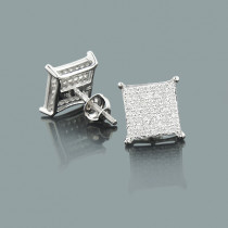 Square Stud Earrings with Diamonds 0.33ct 10K Gold