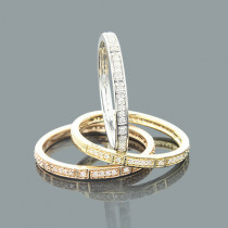 Ultra Thin Stackable Diamond Ring Set 0.34ct 14K Trio