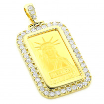 Statue Of  Liberty Diamond Pendant 2.2ct Credit Suisse Gold Bar Charm 24k