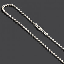 Sterling Silver Bead Chain Dog Tag Necklace 3mm 22""