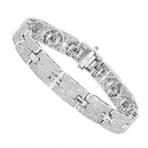 Sterling Silver Bracelets: Mens Diamond Bracelet 3.5 ct