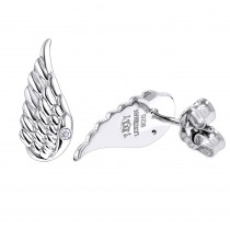 Sterling Silver Diamond Angel Wing Earrings for Women Luxurman Love Quotes
