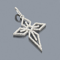 Sterling Silver Diamond Cross Pendant 0.34ct
