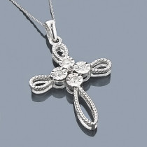 Sterling Silver Diamond Cross Pendant 0.45ct