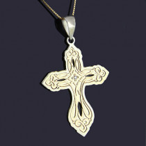 Sterling Silver Diamond Cross Pendant 14K Gold 0.01ct
