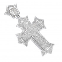 Sterling Silver Diamond Cross Pendant 1.81ct