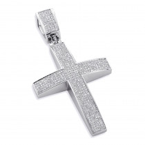Large Sterling Silver Diamond Cross Pendant For Men 1.75ct