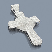 Sterling Silver Diamond Cross Pendant 3.11ct