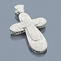 Sterling Silver Diamond Cross Pendant 3.88ct