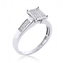 Sterling Silver Diamond Engagement Ring 0.25ct