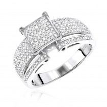 Affordable Sterling Silver Real Diamond Engagement Ring 0.92ct