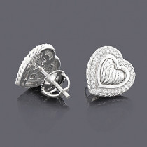 Sterling Silver Diamond Heart Earrings 0.22ct