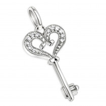 Sterling Silver Diamond Key Pendant 0.15ct