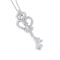 Sterling Silver Diamond Key Pendant 0.24ct