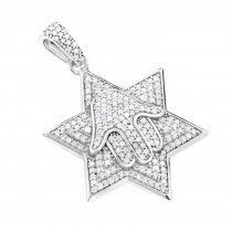 Sterling Silver Diamond Star of David Pendant 0.65ct