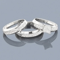 Sterling Silver Engagement Diamond Ring Set .45ct