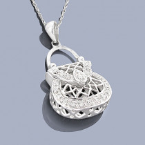 Sterling Silver Handbag Pendants: Diamond Purse Pendant