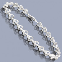 Sterling Silver Heart Bracelet with Diamonds 0.35ct